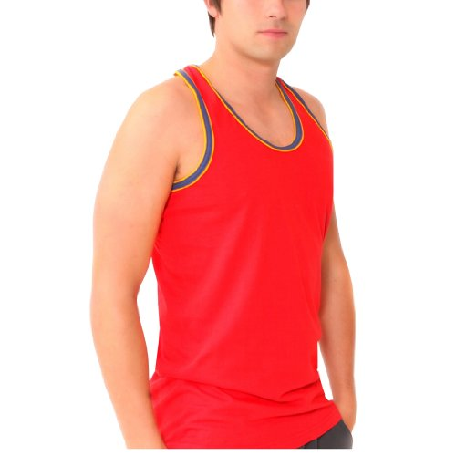 6 x BRITWEAR® Mens Coloured 100% Cotton Fitted Ultra Rib Muscle Gym Top Vest Singlets