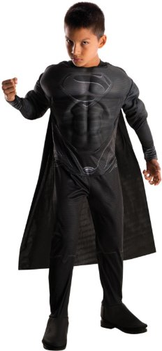 Rubies Man of Steel Deluxe Black Suit Muscle Chest Child's Superman Costume