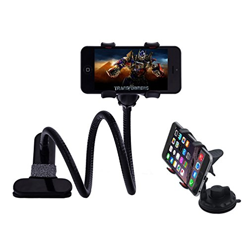 Huixinda 2-in-1 Gooseneck Flexible Cell Phone Clip Holder for Bed, Car, Desktop, with Car Vehicle Windshield Suction Cup Mount for iPhone /Samsung /GPS/Smartphone