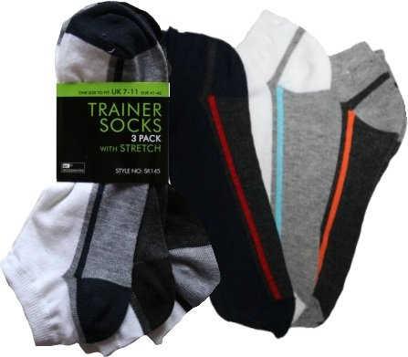 RJM 3 Pack Grey With Red, Blue + Orange Stripes Mens Trainer Socks 7-11 SK145a