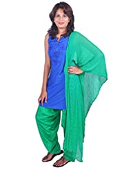 Womens Cottage Forest Green Cotton Jacquard Patiala & Chiffon Dupatta Set