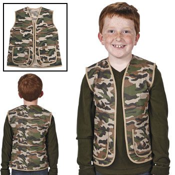 "Fun Express - Child Camouflage Army Vest Play Costume with Pockets, 16""x20"""