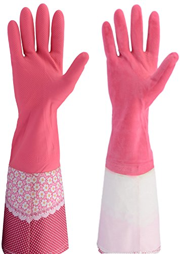 Cleanbear Rubber Latex Cleaning Gloves, 16 Inch, 2 Pairs (Pink Dish Clothes compare prices)
