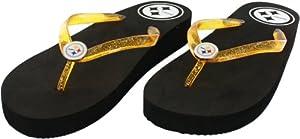Pittsburgh Steelers Women's Wedge Flip Flop Sandals