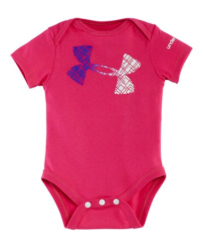 Under Armour Baby-Girls Newborn Favella Lace Logo Baselaye, Chaos/Pride/White, 3-6 Months front-310387