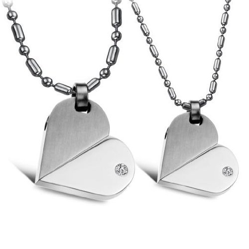 Opk Jewellery Fashion Stainless Steel Necklace Transformable Love Heart Pendants Couple Transformers Neckwear