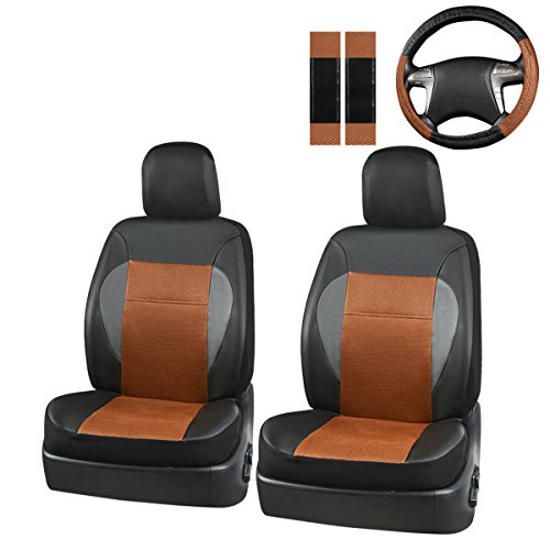 New Arrival- Car Pass 7Pcs Luxurious Leather Two Front Universal Car Seat covers with steering wheel and shoulder covers ,airbag compatiable (Leather Car Seat Covers Front compare prices)