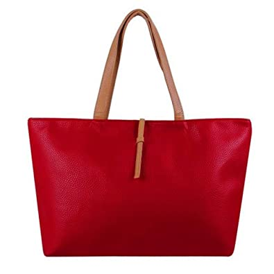 TOP Soft Shopper Hobo Tote Handbag Patterns with Coin Wallet (red)