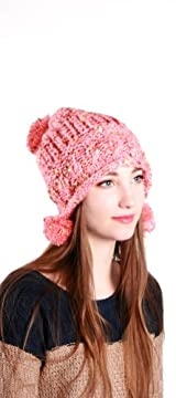 PINK/GOLD HAT WITH POM POM ACCENT