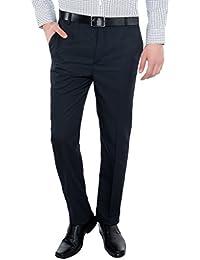 Only Vimal Men's Dark Blue Self-Striped Slim Fit Formal Trouser