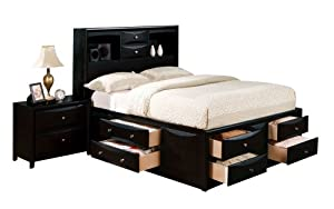 2 ACME 14106EK Manhattan Bed HBFBR California King Black Finish Bedroom Fur