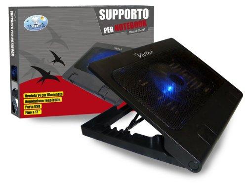 VULTECH SN-01 SUPPORTO PER NOTEBOOK CON VENTOLA DI RAFFREDDAMENTO PORTE USB INCORPORATE CON POSSIBILITA' DI INCLINAZIONE DA 0 A 20°