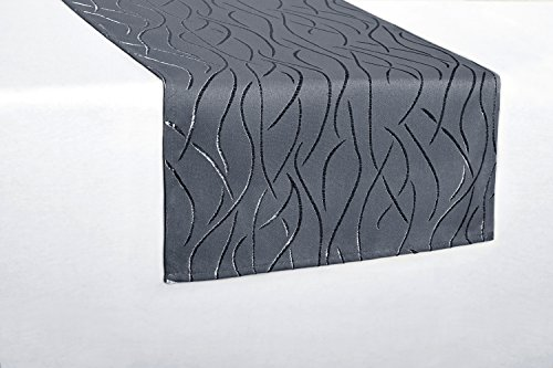 Tischlufer-eckig-in-glnzender-Streifenoptik-40x200cm-grau-Premium-Stoffqualitt-Farbe-und-Gre-whlbar-toller-Glanz-natrliche-Optik-und-pflegeleicht