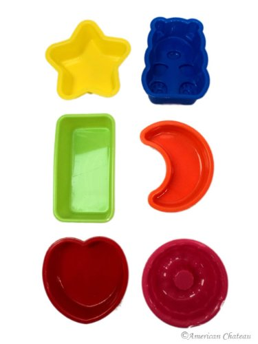 Set Of 6 Silicone Baking Molds Assorted Trays Food Mould Mold Kids Use