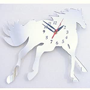 Cantering cheval horloge miroir 30 cm x 25 cm