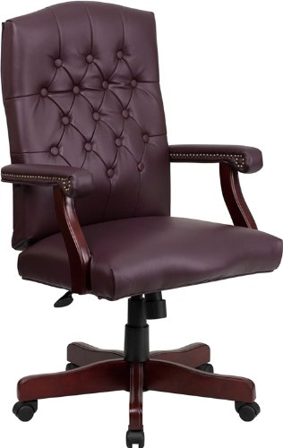 Flash Furniture Martha Washington Burgundy Leather Executive Swivel Chair