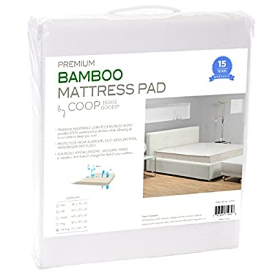 Ultra Luxe Bamboo Mattress Pad Protector Cover by Coop Home Goods - Waterproof Hypoallergenic Cooling Topper