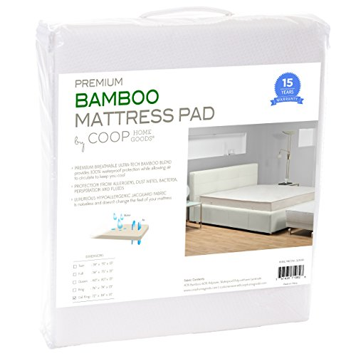 Best Buy! Coop Home Goods – Waterproof Hypoallergenic Cool Bamboo Mattress Protector Pad Cover – KING