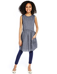 Pure Cotton Spotted Chambray Dress