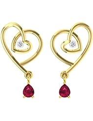 TBZ - The Original 18k (750) Yellow Gold And Diamond Heart N Heart  Stud Earrings