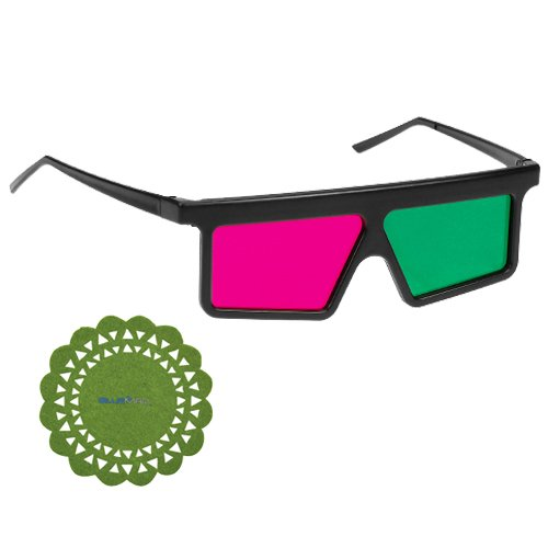 GTMax Flat Square 3D Magenta/Green Glasses for