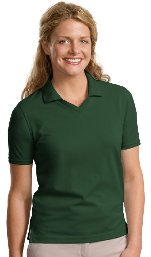 Port Authority Women'S Soft Moisture Wicking Polo Shirt_Dark Green_Large front-910426