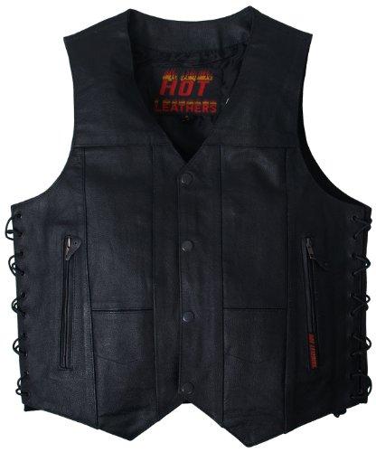 Hot Leathers Men's Ten Pocket Leather Vest (Black, XXX-Large)
