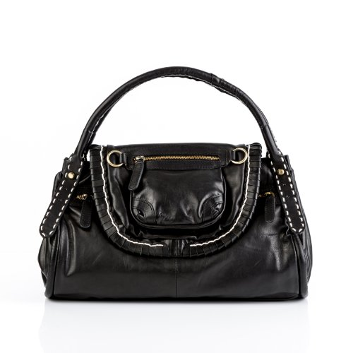Verkauf Gaucho-Henkeltasche GISELE von BACCINI, Ledertasche schwarz - Handtasche echt Leder (32 x 29 x 9 cm)