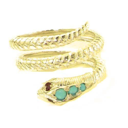 Fabulous Solid Yellow Gold Natural Turquoise & Ruby Detailed Snake Ring - Size 9.25 - Finger Sizes 5 to 12 Available