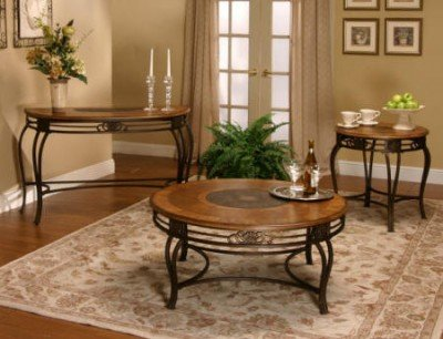 Image of Cramco Ivy Hill Round Engraved Wood Top End Table (63349-98)