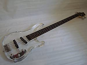 Ktone 4 String Clear Body Lucite Electric Bass Guitar with Free Gig Bag - Brand New by Ktone