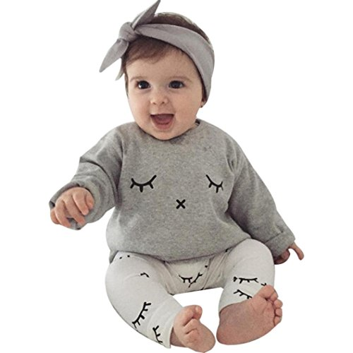 AMA(TM) 2PCS Baby Boy Girl Eyelash Print T-Shirt Tops +Pants Outfit Clothes Set (9M, White)