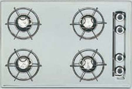 Summit : ZTL033 24 Gas Cooktop with 4 Open Burners and Electronic Ignition: Brushed Chrome