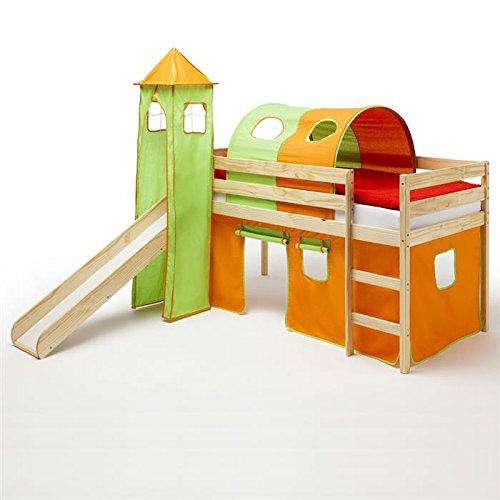 Spielbett Rutschbett Hochbett mit Rutsche BENNY, natur lackiert, Kiefer massiv 90×200 cm, mit Rutsche Vorhang Turm und Tunnel in orange/grün kaufen