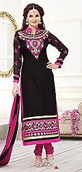 V-Kart Women's Chanderi Unstitched Dress Material (Vkart_322_Black_Free Size)