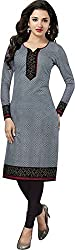 SDM Women's Kurti Printed Cotton Dress Material Unstitched (P-110-Grey, Unstitched)