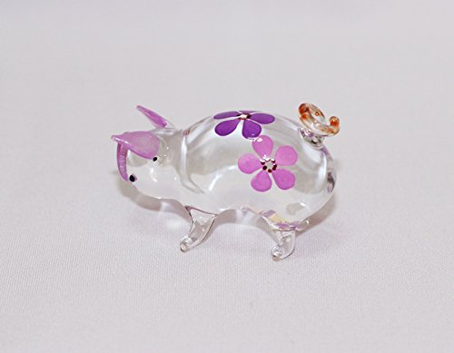 Dollhouse miniatures hand blown art purple cute pig flower for Animals decoration games