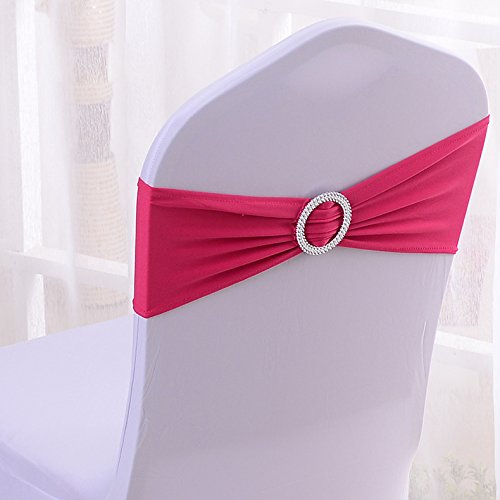 50PCS Stretch Wedding Chair Cover Bands With Buckle Slider Sashes Bow Decorations 22 Colors (Fuchsia)