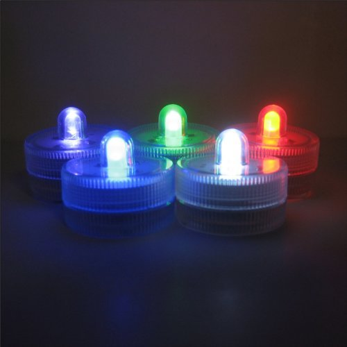 Submersible Battery LED Everlasting Tealights, Color Changing with 7 Rainbow Colors. Great for Christmas, Thanksgiving. Set of 10