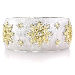 Diamond 18k Two Tone Gold Bangle Bracelet