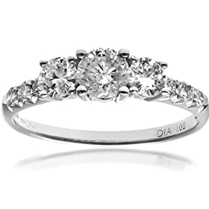 Ariel 18ct White Gold Trilogy Engagement Ring, IJ/I Certified Diamonds, Round Brilliant, 1ct-