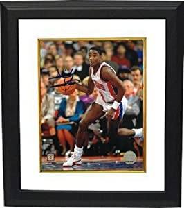 Isiah Thomas Autographed Hand Signed Detroit Pistons 8x10 Photo Custom Framed (white... by Hall of Fame Memorabilia