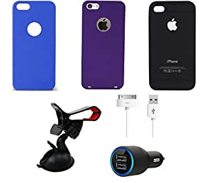 NIROSHA Cover Case Car Charger USB Cable Mobile Holder for Apple iPhone 6 - Combo