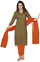 SP Marketplex Women's Cotton Unstitched Dress Materials (Spmsg313, Black And Mustard Yellow)