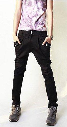 スキニー メンズ パンツ サルエルデザイン ジョッパーズパンツ ブラック 黒 ベージュ 着こなし キレカジ 流行 サルエル カーゴ ワークパンツ チノパン クロップド ボトムス BLACK(黒) 32インチ