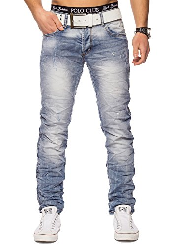 Jeans Uomo bianchiti Madrid ID 1411 Slim Fit Stretch, Farben:Azzurro;Größe-Jeans:W33 L32