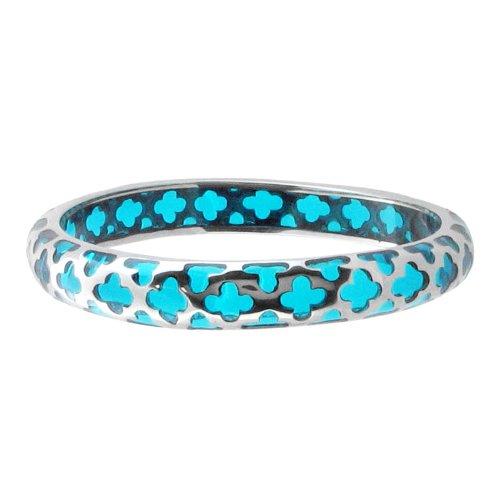 Bangle Bracelets 316L Stailess Steel, Aqua Resin