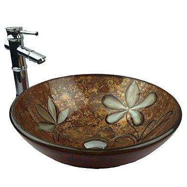 lanmei Multicolor Round Tempered Glass Vessel Sink with Bamboo Faucet ,Pop - Up Drain and Mounting Ring