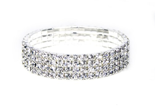 White Gold Tone Stretchable Link Tennis Bracelet with Diamond Cut Cubic Zirconia Crystal Four Strands