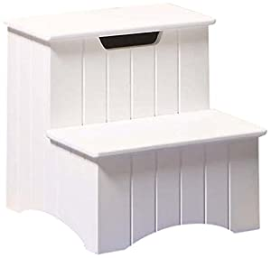 Kings Brand Large White Finish Wood Bedroom Step Stool With Storage Chairs